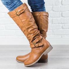 Női PU Alacsony sarok Chunky sarok Térdig érő csizmák -Val Csat Cipzár cipő