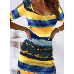 Tie Dye Manches 1/2 Moulante Au-dessus Du Genou Décontractée Robes