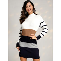Color Block/Striped Long Sleeves Casual Dresses