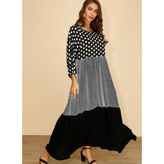 PolkaDot/Plaid/Patchwork 3/4 Sleeves Shift Casual Maxi Dresses