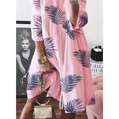 Print 3/4 Sleeves Shift Knee Length Casual Dresses