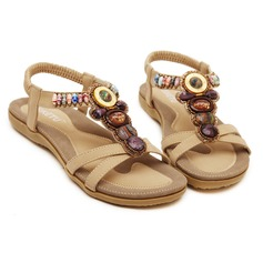 Women's Leatherette Flat Heel Sandals With Beading shoes