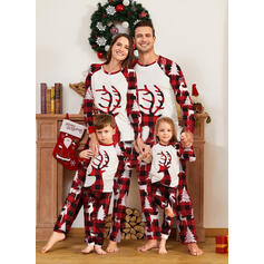 Rensdyr Plaid Familie Matchende Jul Pyjamas