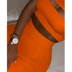 One Shoulder Sleeveless Solid Color Top & Short Sets