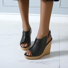 Femmes PU Talon compensé Sandales Compensée À bout ouvert avec Boucle Ouvertes chaussures