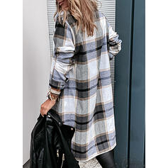 Plaid Lange ærmer Shift Over knæet Casual Skjorte Kjoler