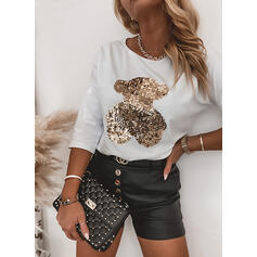 Sequins Round Neck 3/4 Sleeves Casual T-shirts