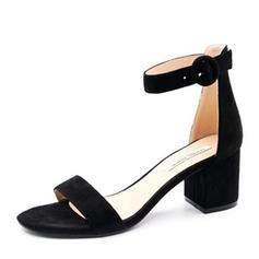 De mujer Ante Tacón ancho Salón Encaje con Perlas de imitación Otros Correa Trenzada Material Block zapatos