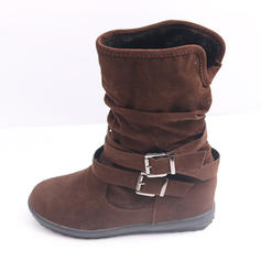 Women's Suede Chunky Heel Boots Mid-Calf Boots With Buckle shoes