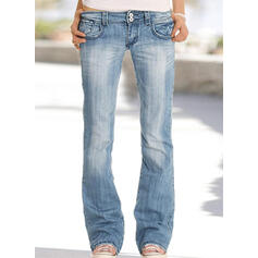 Pockets Plus Size Long Plain Denim & Jeans