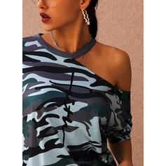Print One-Shoulder Short Sleeves Casual Blouses