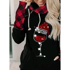 Grid Sequins Pockets Long Sleeves Christmas Sweatshirt