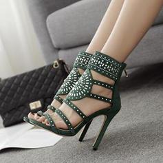 Femmes Suède Talon stiletto Sandales Escarpins avec Ouvertes chaussures