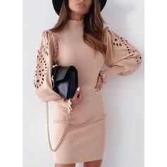 Solid Long Sleeves/Lantern Sleeve Bodycon Above Knee Casual/Elegant Dresses