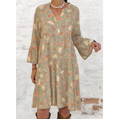 Print Long Sleeves/Flare Sleeves Shift Knee Length Casual/Vacation Tunic Dresses