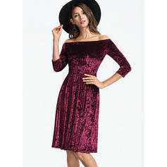 Solid 1/2 Sleeves A-line Vintage/Party/Elegant Midi Dresses