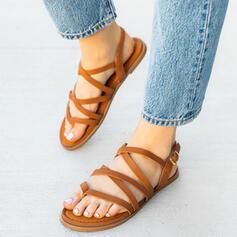 Bayanlar PU Düz topuk Sandalet Flats Ile Oymak Katı Renk ayakkabı