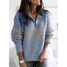 Color Block Lapel Casual Sweaters