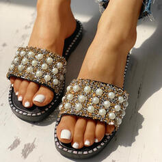 Women's PVC Flat Heel Slippers With Rhinestone Imitation Pearl shoes