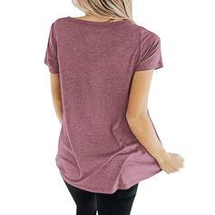 Einfarbig V-Ausschnitt Kurze Ärmel Freizeit Stricken T-shirts