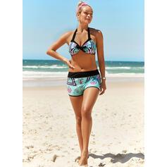 Print Halter Sexy Plus Size Boho Bikinis Swimsuits