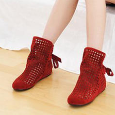 Women's PU Low Heel Closed Toe Boots With Hollow-out shoes
