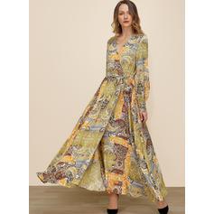 Nadrukowana Długie rękawy W kształcie litery A Maxi Casual/Boho/Wakacyjna Sukienki