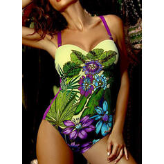 Floral Print Push Up Strap V-Neck Sexy Vintage One-piece Swimsuits