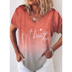 Figure Gradient Heart Print V-Neck Short Sleeves T-shirts