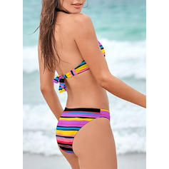 Stripe Halter Eye-catching Retro Bikinis Swimsuits