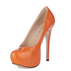 Women's Patent Leather Stiletto Heel Pumps Platform Closed Toe shoes