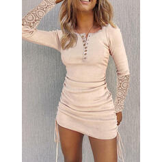 Lace/Solid Long Sleeves Bodycon Above Knee Little Black/Casual Dresses