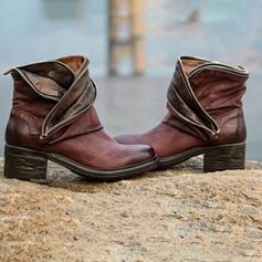Dla kobiet PU Obcas Slupek Botki Z Łączona obuwie