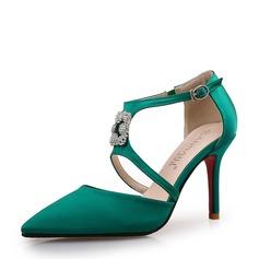Жіночі Шовк Шпилька Насоси Закритий палець з Сіяючі камені взуття