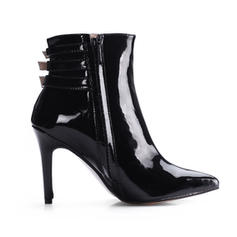 Women's Patent Leather Stiletto Heel Ankle Boots With Buckle shoes