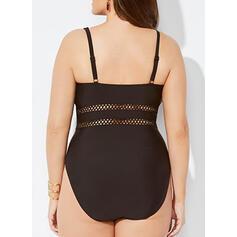 "Jednobarevná Popruh Výstřih do ""V"" Sexy Plus velikost Jednodílné Plavky"