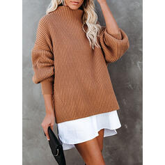 Color Block Long Sleeves Casual Dresses