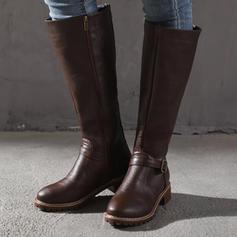 Women's PU Low Heel Mid-Calf Boots With Buckle Zipper shoes