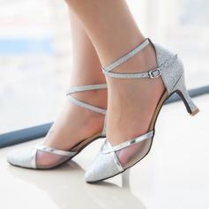 Women's Sparkling Glitter Heels Pumps Ballroom Dance Shoes