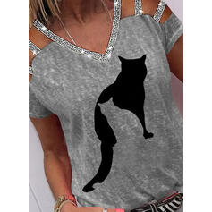 Animal Print Sequins Cold Shoulder Short Sleeves Casual Blouses