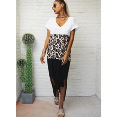 Color Block/Leopard Short Sleeves Shift T-shirt Casual Maxi Dresses
