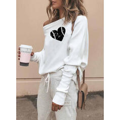 Print Hjerte One Shoulder Lange ærmer Sweatshirts