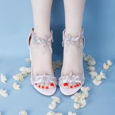 Women's Leatherette Stiletto Heel Peep Toe With Crystal