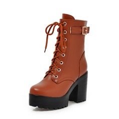 Femmes Similicuir Talon bottier Plateforme Bottines chaussures