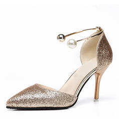 Women's Sparkling Glitter Stiletto Heel Pumps Closed Toe With Sequin Imitation Pearl shoes