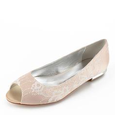 Women's Lace Leatherette Flat Heel Flats Peep Toe