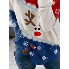 Imprimeu Animal Guler Rotund Mâneci Lungi Crăciun brățară