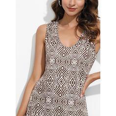 Print Sleeveless Shift Tank Casual/Boho/Vacation Maxi Dresses