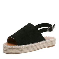Kvinnor PU Flat Heel Sandaler Platta Skor / Fritidsskor Peep Toe med Spänne skor