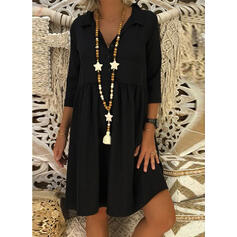 Solid 3/4 Sleeves Shift Knee Length Little Black/Casual Tunic Dresses